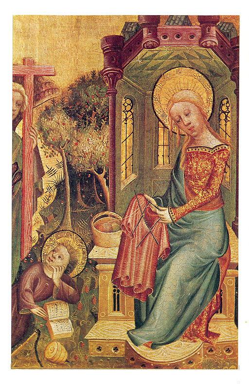 Meister Bertram - Strickende Madonna