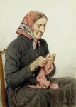 Albert_Anker_Sitzende_Bäuerin_beim_Stricken_1904