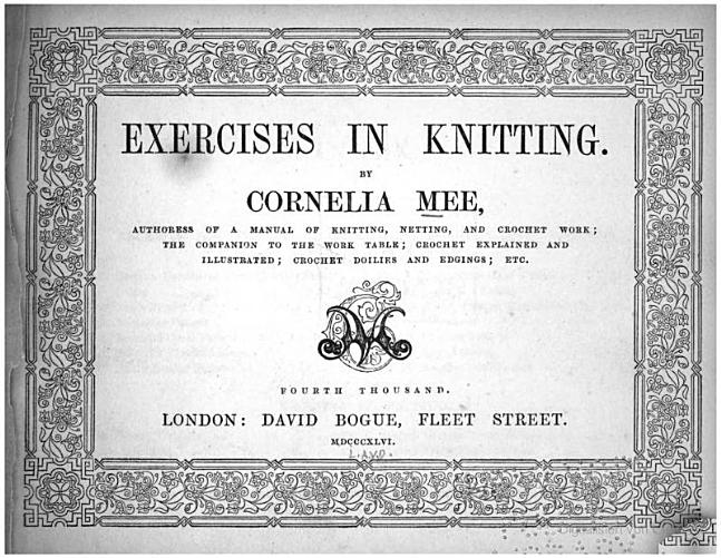 Cornelia Mee Exercises in Knitting