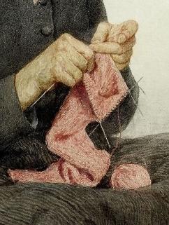 Albert Anker, Sitzende Großmutter beim Stricken, Detail