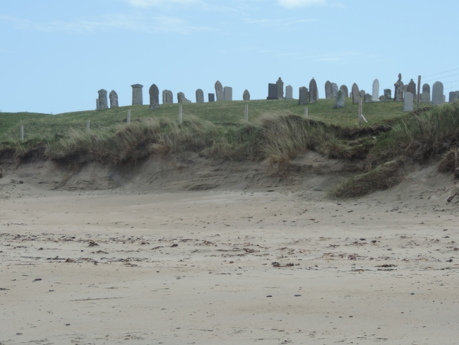 Levenwick Beach mit Friedhof