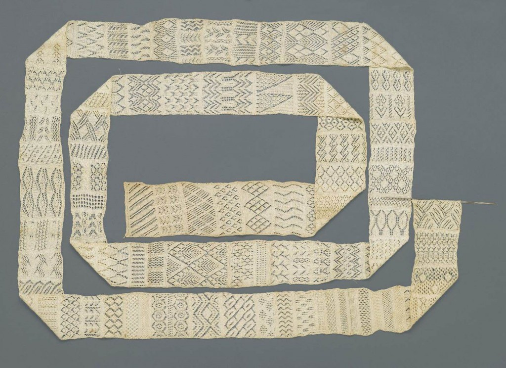 Knitted Sampler, ca. 1800. Cotton, 3 1/2 x 179 15/16 in. (8.9 x 457 cm). Brooklyn Museum, Gift of Joseph McCrindle, 74.12.1