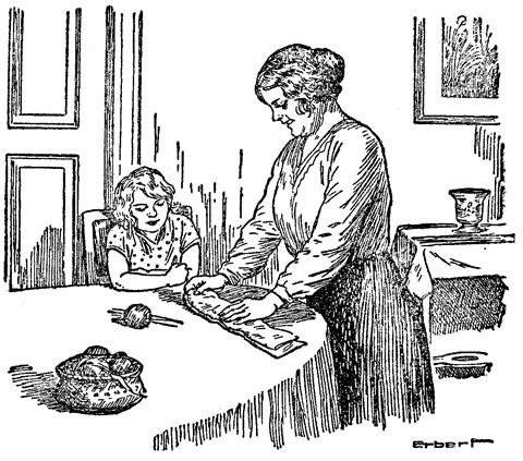 »Nein, Pommerle, das geht nicht. Der Onkel hat zwei ganz gleich lange Beine, folglich müssen auch die Strümpfe gleich lang gearbeitet werden.«
