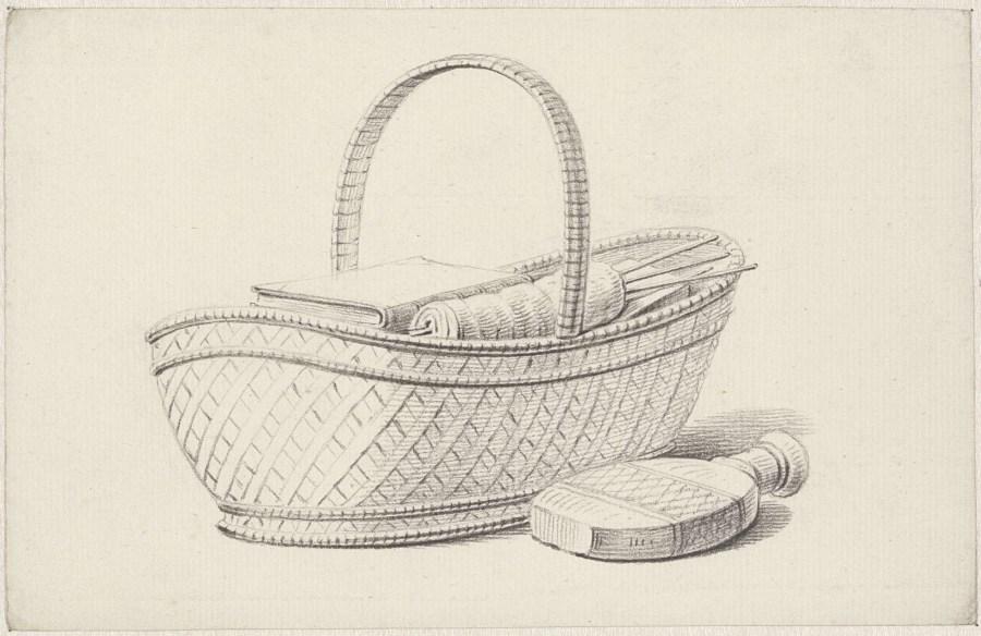 mand met boek en breiwerk, Pieter de Goeje, 1789 - 1859