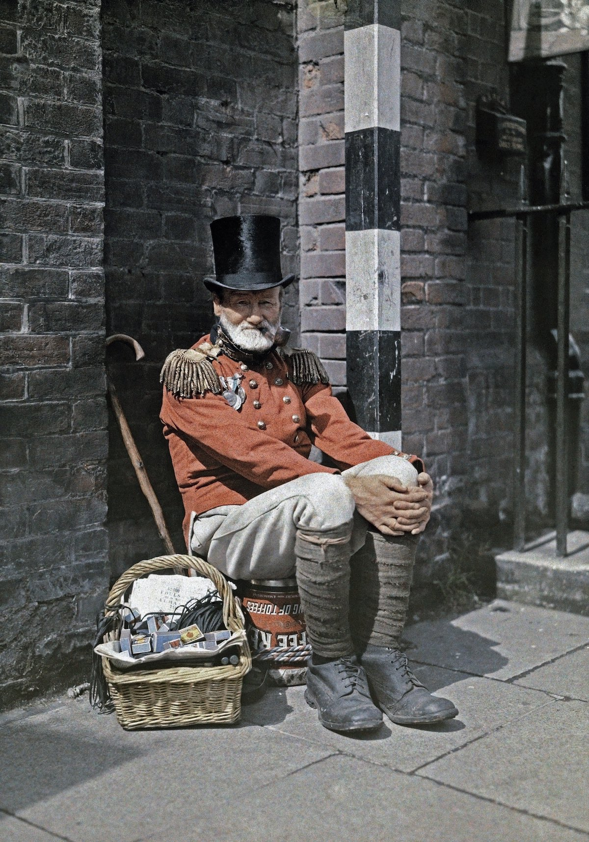 A war veteran sells matches on the street, in Canterbury, Kent. Image: Clifton R. Adams/National Geographic Creative/Corbis