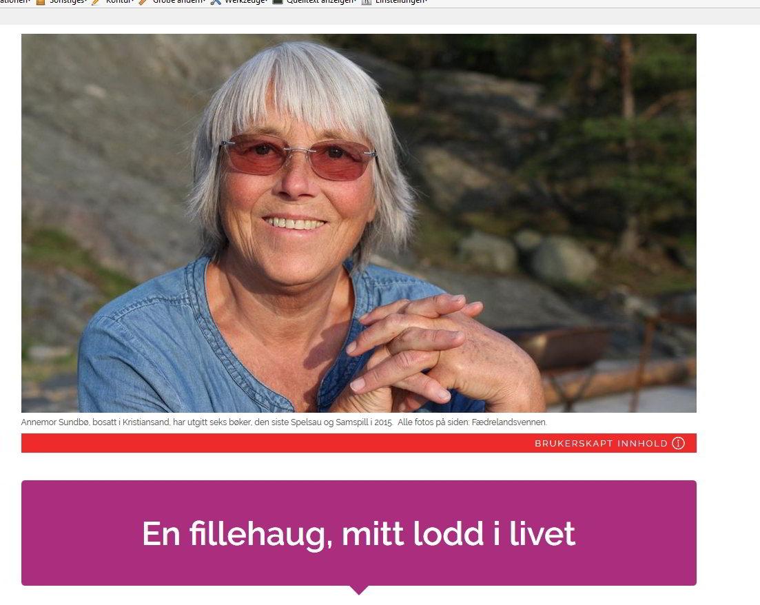 Annemor Sundbø, ein Screenshot von http://lokalkulturen.fvn.no