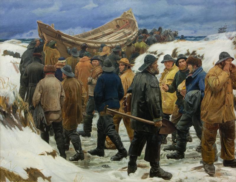 Michael Ancher: Das Rettungsboot wird durch die Dünen getragen