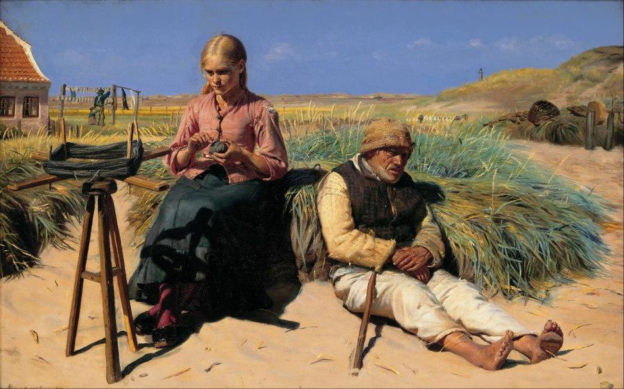 Michael Ancher - Tine und der blinde Kristian in den Dünen, 1880