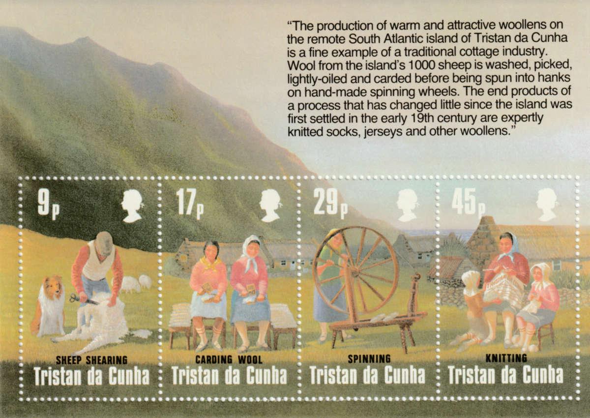 Tristan da Cunha - Briefmarken scheren - kardieren - spinnen - stricken
