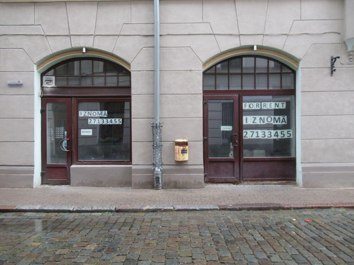 Empty shops in rainy Riga